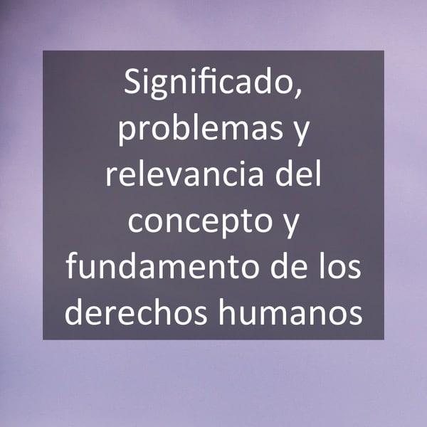 Significado, problemas y relevancia del concepto y fundamento de los derechos humanos